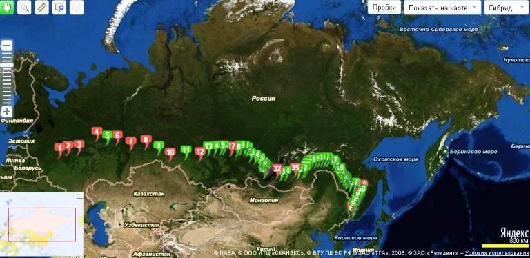 Карта России на Яндекс.Картах