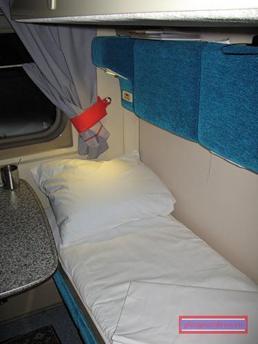 Спальное место в купе поезда «РОССИЯ»