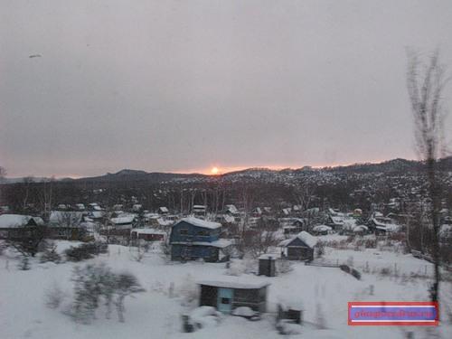 закат солнца на фоне хабаровских дач