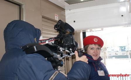 Съемки фильма: Наталья Мосина - проводница штабного вагона