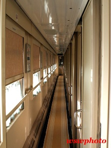 "Interior of pass of a compartment car (2 class) trains ""Russia"""